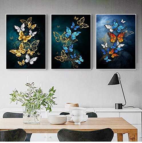 Salón De Arte De Pared De Mariposa Azul Dorado Abstracto Cartel De...