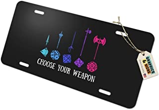 Graphics and More Choose Your Weapon Dungeon RPG Dice Novelty Metal Vanity Tag License Plate