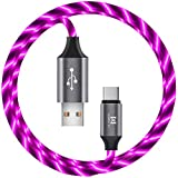 USB-C Type-C Charging Cable LED - 6FT 2.4A Light Up Visible Flowing USB-A to Type C Charger Cable (Black Glows Purple)