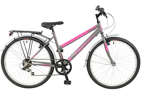 FalconExpression 2016 Unisex Mountain Bike Pink/Grey, 19' inch steel frame, 6 speed strong and lightweight alloy wheel rims front and rear v-brakes