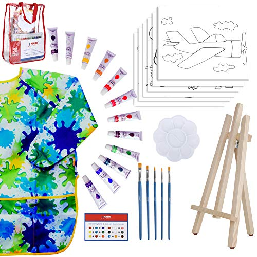 Kids Paint Set for Boys – 28-Piece Acrylic Painting Supplies Kit with Storage Bag, 12 Washable Paints, 1 Scratch Free Paint Easel, 6 Pre-Stenciled Canvases 8 x 10 inches, 5 Brushes, 10 Well Palette