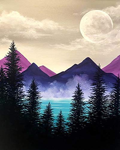 ACANDYL Paint by Number Mountains DIY Acrylic Painting Paint by Number Kit for Kids Adults Students Beginner DIY Canvas Painting by Numbers Painting Arts Craft for Decoration Mountains 16x20 Inch