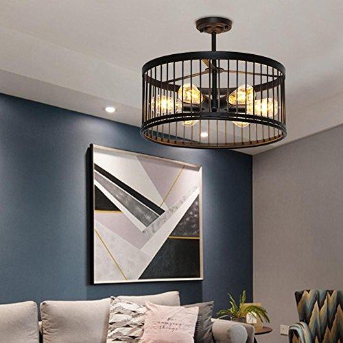 E27Edison–Lámpara de techo retro industrial Hierro creativo lámpara de pantalla redonda (lámpara de techo clásico araña iluminación interior lámpara dormitorio estilo rústico iluminación de