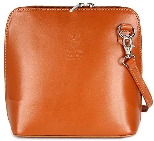 Belli ital. Ledertasche Damen Umhängetasche Handtasche Schultertasche - 17x16,5x8,5 cm (B x H x T) (Cognac)