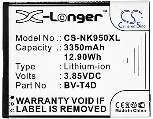 CS - Batería de ion de litio (3350 mAh, compatible con Microsoft/Nokia BV-T4D, sustituye a Microsoft/Nokia Lumia 950 XL, Lumia 950 XL Dual Sim, Cityman)