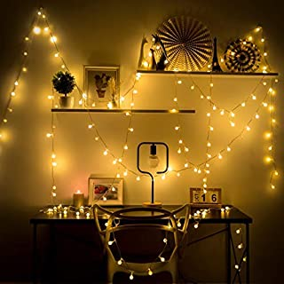 HOLLOSPORT 33ft 100 Bulbs Plug in LED Warm Light String for Party & Christmas, 8 Modes