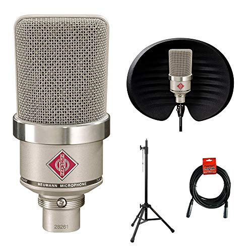 Neumann TLM-102 Studio Condenser Microphone (Nickel) with Aston Halo Filter, Tripod Mic Stand & XLR Cable Bundle