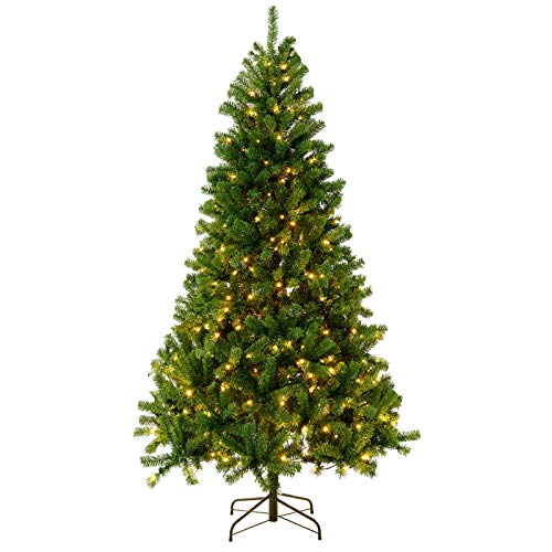 KENSWINO Weihnachtsbaum künstlich 180cm (Ø ca. 110 cm) mit ca.800 Spitzen, grünes flammhemmendes Material, enthalten Metallständer, Tannenbaum künstlich 180cm, Baum mit 500 warmen gelben Lichtern