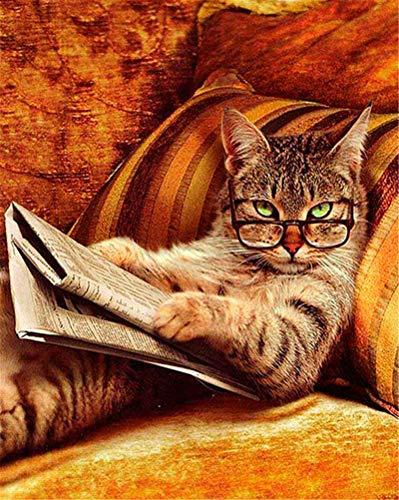 Pintar por Numeros DIY Cuadro al óleo con números Sofá Gato Leyendo Dibujos Animados Animal para Kit de Pintura al óleo Digital para Adultos y niños de Lienzo decoración para el hogar 40x50cm