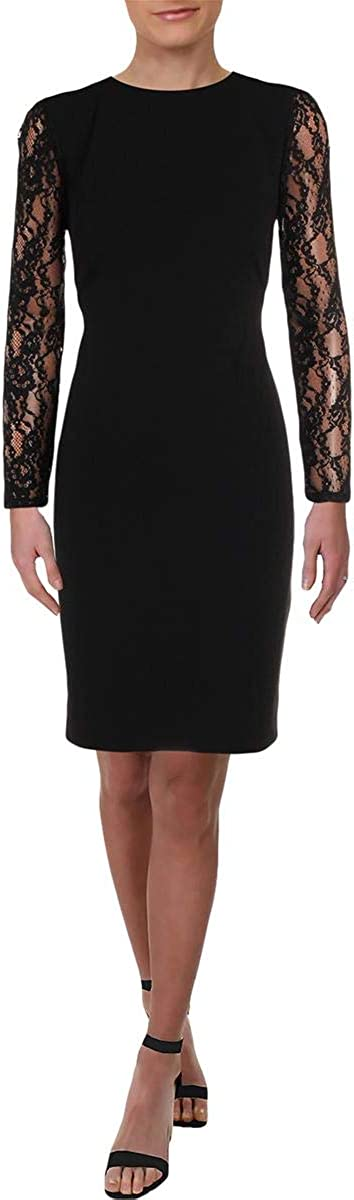 LAUREN RALPH LAUREN Keanu Women's Lace Inset Long Sleeve Sheath Cocktail Dress