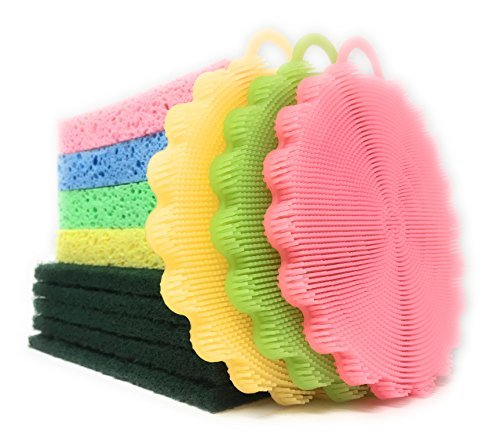 Large Kitchen Sponge Scrubber Set - 3 Silicone Rubber Vegetable Dish Brushes, 4 Large All Purpose Sink Sponges and 5 Heavy Duty Scouring Pads for Dishwashing Tough Baked on Messes