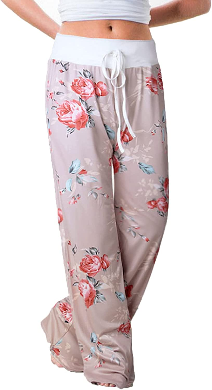 Women's Printed Wide-Leg Pants Comfy Stretch Floral Print Drawstring Lounge Trousers Casual Stretchy Casualpants (Large,Pink 1)