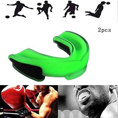 WFWPY Mundschutz zum Sport Aufbissschiene Schützt Zähne Mundschutz Gebißschutz Für Boxen MMA Rugby Kickboxen Judo Karate Hockey & Kampfsport 2 pcs,Greenblack