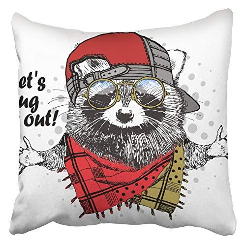 Moily Fayshow Funda de cojín de Tiro Mapache afable con Gorra roja Gafas y Bufanda de Mapache Vestido con Traje de Animal Benevolencia Boy Coon 50X50 Cm