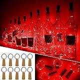 Luces Para Botellas, Ariceleo 10 Piezas 2 Metros 20 LED Cobre Alambre Luces Led para Botellas con Pilas, Corcho Lamparas Cadena Luz de Botella Decorativas Para Fiesta Boda Navidad DIY (Rojo)