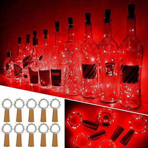 Ariceleo Luci Bottiglia, 10 Pezzi 20 LED 2 Metro a Batteria Rame Filo Set Vino Bottiglia Tappo Stringa Luci con Sughero Catena per Natale Matrimonio Halloween Giardino Feste Lucine(Rosso)