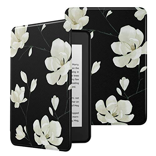 MoKo Case Fits Kindle Paperwhite (10th Generation, 2018 Releases), Premium Ultra Lightweight Shell Cover with Auto Wake/Sleep for Amazon Kindle Paperwhite 2018 E-Reader - Black & White Magnolia