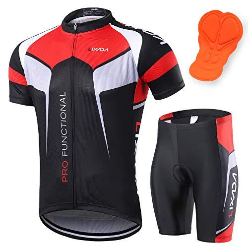 Lixada cykelkostymer för män kortärmad cykeltröja + 3D vadderade ridtights snabbtorkande cykelkläder set för utomhussport cykling cykling Svart M(EU)= 170-175cm, 65-75kg