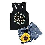 Honganda Fashion 2Pcs Toddler Kids Baby Girl Sunflower Outfits Sleeveless Tank Top+Denim Shorts Summer Clothes(A-Black, 3-4 Years)