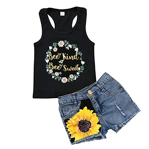 Honganda Fashion 2Pcs Toddler Kids Baby Girl Sunflower Outfits Sleeveless Tank Top+Denim Shorts Summer Clothes(A-Black, 4-5 Years)
