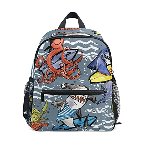 Mini mochila escolar bolsa de la universidad para niños niñas lindo dibujos animados tiburón pulpo cangrejo surf ola mar