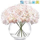 LKCELL Hortensias artificiales de seda para la cara, 10 unidades, flores de arbusto, cabeza a granel con arreglos de centros de boda, ramos de flores para decoración del hogar con tallos largos