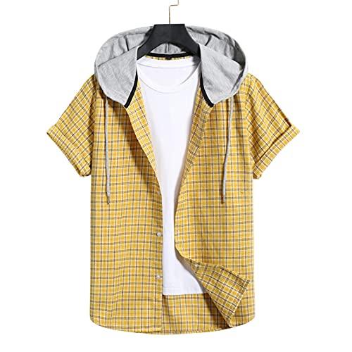 SSBZYES Herrenhemden Sommer Herren Kurzarmhemden Herren Kapuzenhemden Sommer Locker anliegende Casual Karierte Hemden Übergröße Hemden