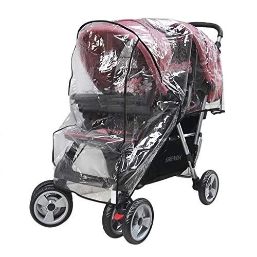 Universal Regenverdeck für Geschwister-Buggy Kinderwagen Regenschutz Twins Baby Zwillingskinderwagen Regenhaube mit Reißverschlusstür, transparent