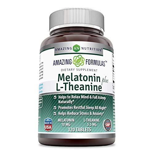 Amazing Nutrition Amazing Formulas Melatonin plus L-Theanine Dietary Supplement - 10 mg - 120 Tablets - (Non-GMO, Gluten Free) Promotes Restful, All-Night Sleep - Helps Reduce Anxiety and Stress