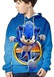 HAOSHENG Niño Ropa Sonic The Hedgehog Sudadera con Capucha Impreso con Lindos Personajes Casual Moda Jersey de Manga Largapara Niñas(140)