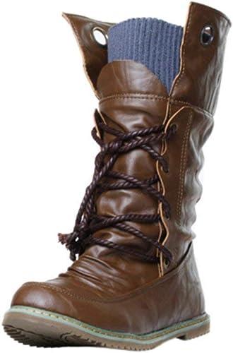 Oudan botas zapatos de mujer botas de mujer Moda de Invierno Martin botas de Vendaje botas de Tobillo de mujer zapatos Casuales de mujer botas de Nieve (Color   marrón, tamaño   37 EU)