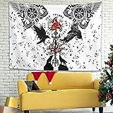 Tapiz vikingo Árbol de la Vida Celta Odin Raven Vegvisir Wolf Runas escandinavas Tapiz de pared gitano Gobelin Colorido Decoración de Sofá Fiesta Fondo Blanco 100 x 150 cm