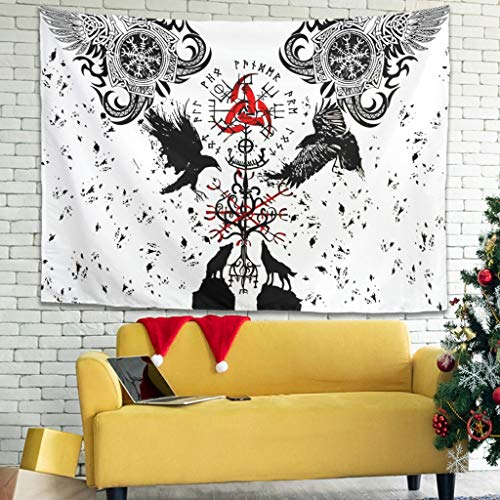 vikingo árbol de la vida celta Odin Raven Vegvisir Wolf escandinavo runas pared pared pared pared Tapiz Hippie Gobelin año Tapiz Playa Collage 100 x 150 cm blanco