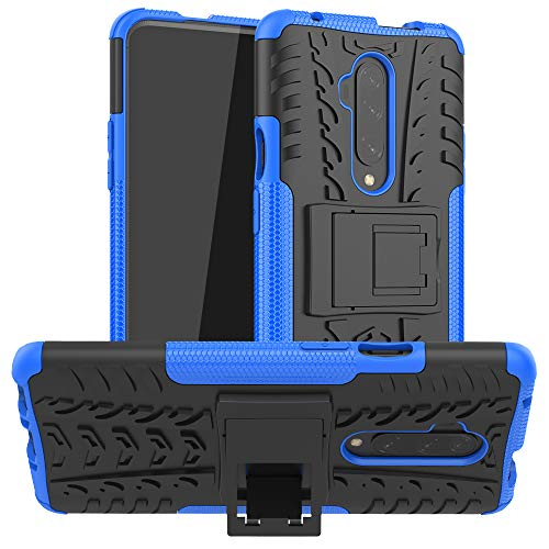 OnePlus 7T Pro Case, Ankoe Heavy Duty Hybrid Slim Dual Layer Rugged Rubber Hybrid Hard/Soft Impact Armor Defender Protective Case with Kickstand for OnePlus 7T Pro (Blue)