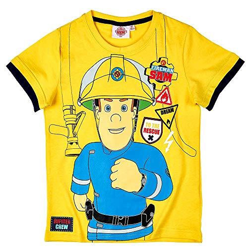 T-Shirt to Rescue | Feuerwehrmann Sam | Größe 98-128 | Kinder Jungen Shirt, Größe:104, Farbe:Gelb