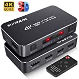 4K HDR HDMI Switch, Koopman 4 Ports 4K 60Hz HDMI 2.0 Switcher Selector with IR Wireless Remote, Supports UltraHD Dolby...