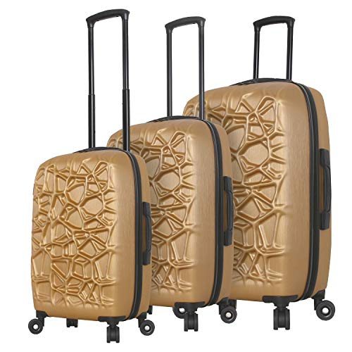 Find Bargain Mia Toro Italy Web Hard Side Spinner Luggage 3 Piece Set, Cadmium, One Size