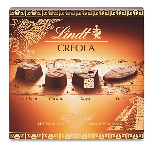 Lindt Creola Pralinen mit Kakao Nibs aus 100% Edelkakao, 4 köstliche Pralinensorten ohne Alkohol, 1er Pack (1 x 165 g)