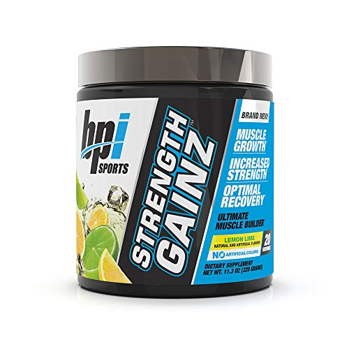 BPI Sports Strength Gainz - Best Pre & Post Workout - Muscle, Recovery, Endurance - Creatine, Dextrose, Peak O2, Amino 9, Himalayan Pink Salt - for Men & Women - Lemon Lime- 20 Servings - 11.3 Oz