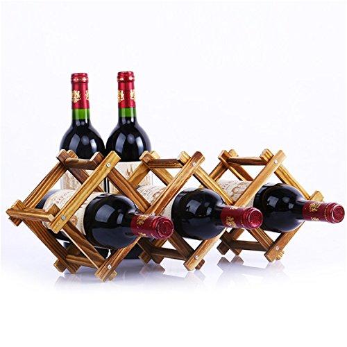 Vin Collector – Bois 3 bouteilles de vin pliante en bois sur pied Bouteille support en bois – Wr6669-l8