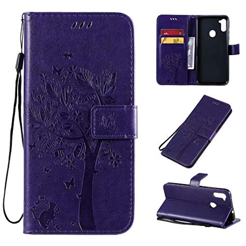 Miagon für Samsung Galaxy A11 Geldbörse Wallet Case,PU Leder Baum Katze Schmetterling Flip Cover Klapphülle Tasche Schutzhülle mit Magnet Handschlaufe Strap