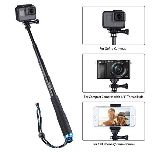 Vicdozia 28.5 Extension Stick Hand Grip Extendable Monopod Adjustable Pole Waterproof Handle Compatible with Hero 8 7 6 5 4 Session, SJCAM AKASO Xiaomi Yi and More Compact Cameras Cell Phones