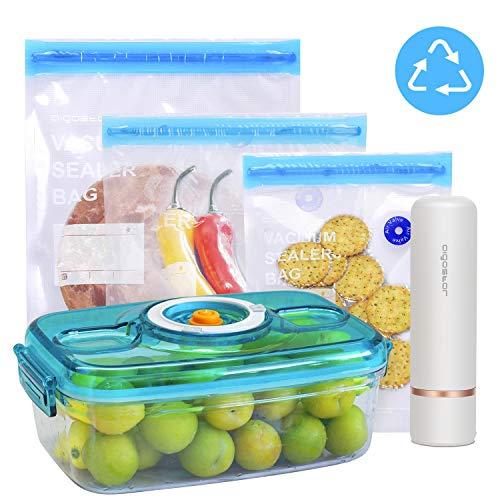 Aigostar Fresh - Pack 3 productos: mini bomba de vacío portátil, bolsas...
