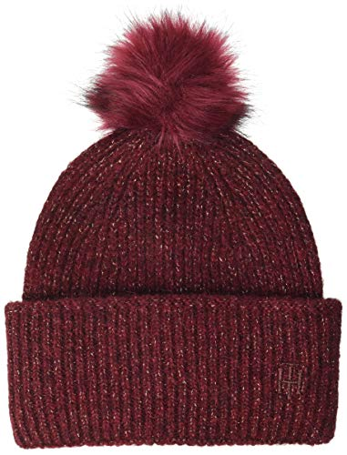 Tommy Hilfiger TH Effortless Beanie Pom Gorro/Sombrero, Rouge Prof, OS para Mujer
