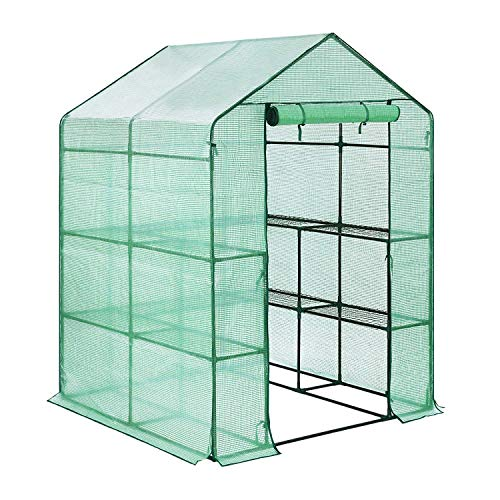 FOBUY Compact Walk In Plastic PE Greenhouse with 6 Shelves,& Strong Reinforced Cover,143 x 143 x 193 cm