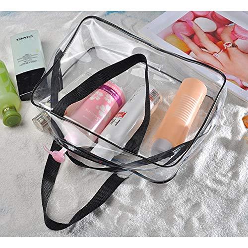 PoplarSun Mode Transparent Un Sac de cosmétique de l'épaule EVA Voyage imperméable Poche Plage Organisateur Wash Sac Cas de beauté de Toilette (Color : Black)
