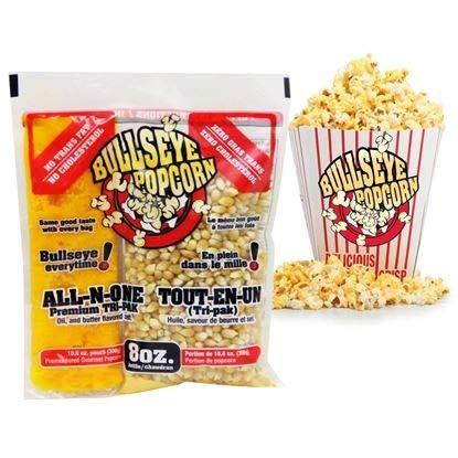 Bullseye all in one Prepack Premeasured unpopped Popcorn Kernels for Kettle Popcorn Machines. 24 Individual 8oz Portion Bags per case