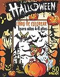 Halloween Libro de Colorear para niños 4-8 años: 50 Dibujos de Halloween, Libro para colorear de...