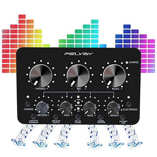 FELYBY Live Sound Card Mini Sound Mixer BoardPortable Audio Mixer for Live Streaming Multifunctional Sound Card for Karaoke Singing Music Recording Broadcast on Smartphone/Tablet/PC/Laptop