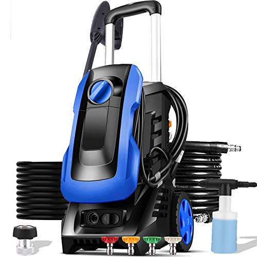 mrliance 3300PSI Electric Pressure Washer 1800W 2.6GPM High Pressure Power Washer Car Washer with Hose Reel, 4 Adjustable Nozzles, Soap Bottle (Blue)